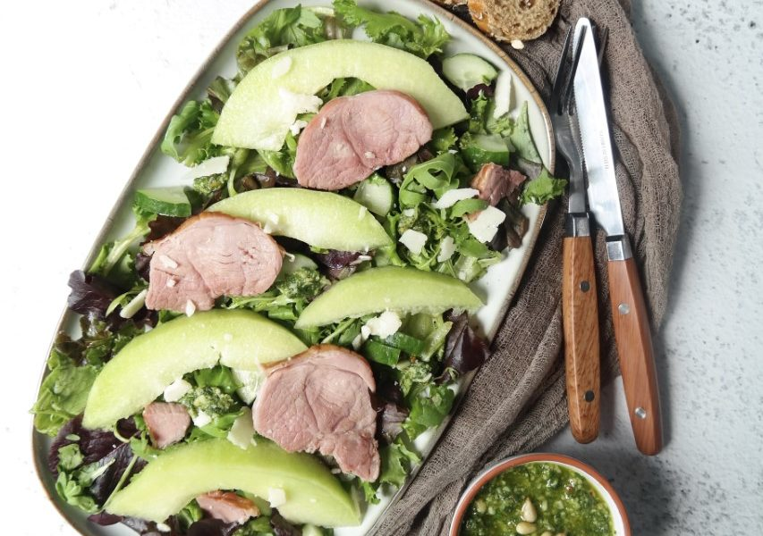 Salade met bokkenham